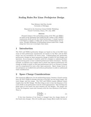 Primary view of object titled 'Scaling Rules for Pre-Injector Design'.