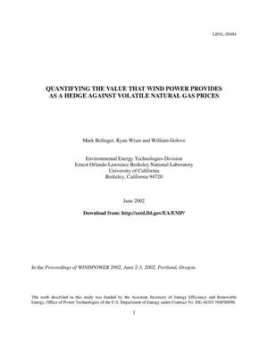 Primary view of object titled 'Quantifying the value that wind power provides as a hedge against volatile natural gas prices'.
