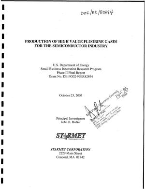 Primary view of object titled 'Production of High Value Fluorine Gases for the Semiconductor Industry'.