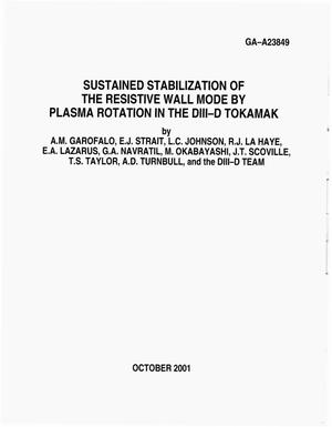 Primary view of object titled 'SUSTAINED STABILIZATION OF THE RESISTIVE WALL MODE BY PLASMA ROTATION IN THE DIII-D TOKAMAK'.