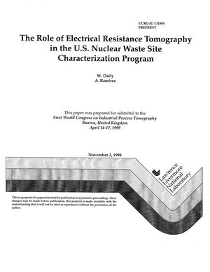 Primary view of object titled 'The role of electrical resistance tomography in the U.S. nuclear waste site characterization program'.