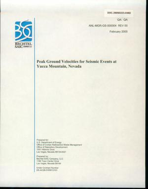 Primary view of object titled 'Peak Ground Velocities for Seismic Events at Yucca Mountain, Nevada'.
