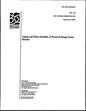 Primary view of object titled 'Aging and Phase Stability of Waste Package Outer Barrier'.