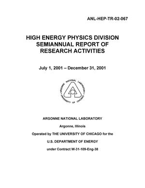 Primary view of object titled 'High Energy Physics division semiannual report of research activities.'.