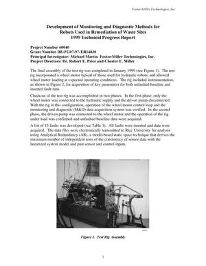 Primary view of object titled 'Development of Monitoring and Diagnostic Methods for Robots Used in Remediation of Waste Sites 1999 Technical Progress Report'.