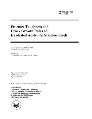 Primary view of object titled 'Fracture toughness and crack growth rates of irradiated austenitic stainless steels.'.