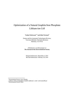 Primary view of object titled 'Optimization of a natural graphite/iron phosphate lithium-ion cell'.