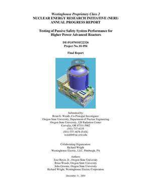 Primary view of object titled 'Testing of Passive Safety System Performance for Higher Power Advanced Reactors'.