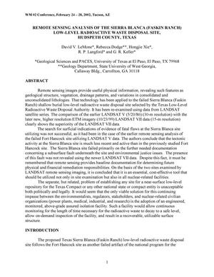 Primary view of object titled 'Remote Sensing Analysis of the Sierra Blanca (Faskin Ranch) Low-Level Radioactive Waste Disposal Site, Hudspeth County, Texas'.