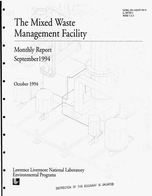 Primary view of object titled 'The Mixed Waste Management Facility. Monthly report, September 1994'.