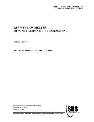 Primary view of object titled 'RPP-WTP LAW Melter Offgas Flammability Assessment'.