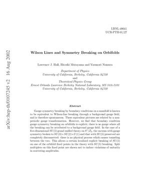 Primary view of object titled 'Wilson lines and symmetry breaking on orbifolds'.
