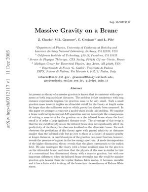 Primary view of object titled 'Massive gravity on a brane'.