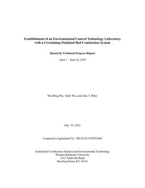 Primary view of object titled 'Establishment of an Environmental Control Technology Laboratory With a Circulating Fluidized-Bed Combustion System Quarterly Report'.