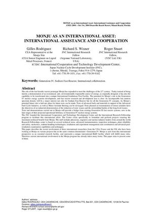 Primary view of object titled 'MONJU AS AN INTERNATIONAL ASSET: INTERNATIONAL ASSISTANCE AND COOPERATION'.