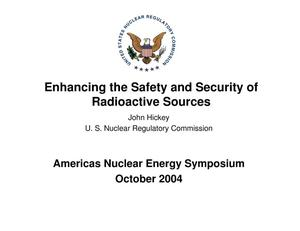 Primary view of object titled 'Enhancing the Safety and Security of Radioactive Sources'.