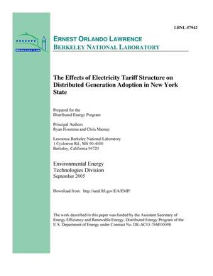 Primary view of object titled 'The Effects of Electricity Tariff Structure on DistributedGeneration Adoption in New York State'.