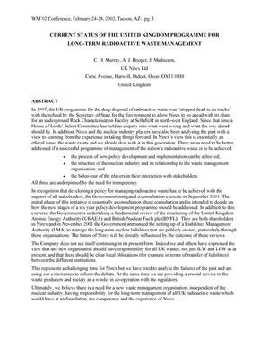 Primary view of object titled 'Current Status of the United Kingdom Programme for Long-Term Radioactive Waste Management'.