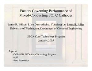 Primary view of object titled 'Factors Governing Performance of Mixed-Conducting SOFC Cathodes'.