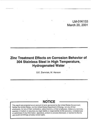 Primary view of object titled 'Zinc Treatment Effects on Corrosion Behavior of 304 Stainless Steel in High Temperature, Hydrogenated Water'.