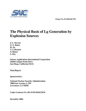 Primary view of object titled 'The Physical Basis of Lg Generation by Explosion Sources'.