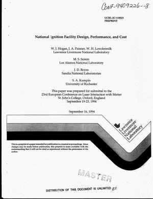Primary view of object titled 'National Ignition Facility design, performance, and cost'.