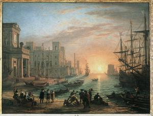 Primary view of object titled 'A Seaport at Sunset'.