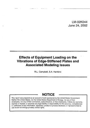 Primary view of object titled 'Effects of Equipment Loading on the Vibrations of Edge-Stiffened Plates and Associated Modeling Issues'.