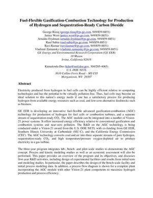 Primary view of object titled 'Fuel-Flexible Gasification-Combustion Technology for Production of Hydrogen and Sequestration-Ready Carbon Dioxide'.