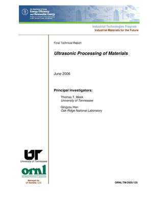 Primary view of object titled 'Ultrasonic Processing of Materials'.