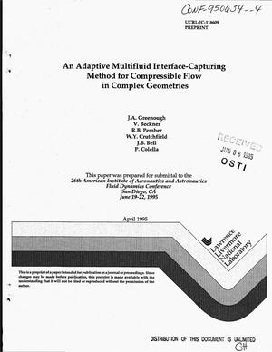Primary view of object titled 'An adaptive multifluid interface-capturing method for compressible flow in complex geometries'.