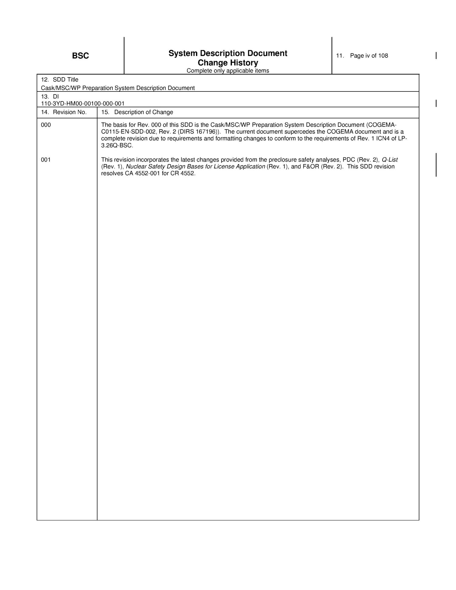 CASK/MSC/WP PREPARATION SYSTEM DESCRIPTION DOCUMENT                                                                                                      [Sequence #]: 4 of 108