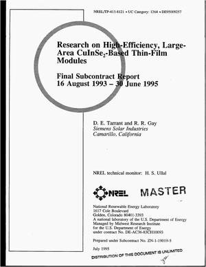 Primary view of object titled 'Research on high-efficiency, large-area CuInSe{sub 2}-based thin-film modules. Final subcontract report, 16 August 1993--30 June 1995'.