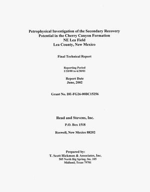 Primary view of object titled 'PETROPHYSICAL INVESTIGATION OF THE SECONDARY RECOVERY POTENTIAL IN THE CHERRY CANYON FORMATION NE LEA FIELD LEA COUNTY, NEW MEXICO'.