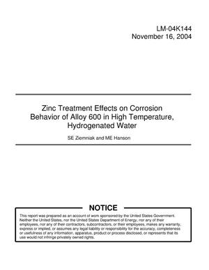 Primary view of object titled 'Zinc Treatment Effects on Corrosion Behavior of Alloy 600 in High Temperature, Hydrogenated Water'.