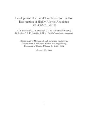 Primary view of object titled 'Development of a Two-Phase Model for the Hot Deformation of Highly-Alloyed Aluminum'.