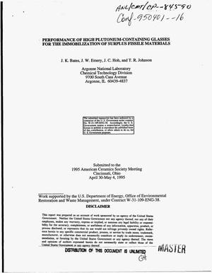 Primary view of object titled 'Performance of high plutonium-containing glasses for the immobilization of surplus fissile materials'.