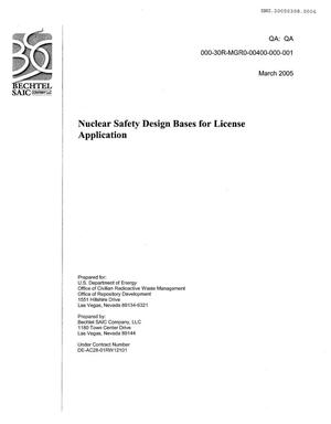 Primary view of object titled 'NUCLEAR SAFETY DESIGN BASES FOR LICENSE APPLICATION'.