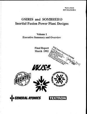 Primary view of object titled 'OSIRIS and SOMBRERO Inertial Fusion Power Plant Designs, Volume 1: Executive Summary & Overview'.