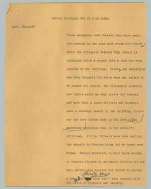Primary view of object titled '[News Script: School evacuated but no bomb found]'.