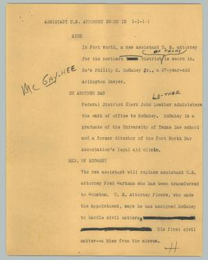Primary view of object titled '[News Script: Assistant U.S. Attorney sworn in]'.