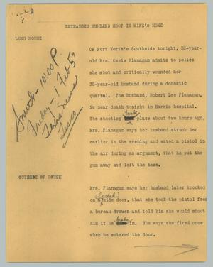Primary view of object titled '[News Script: Estranged husband shot in wife's home]'.