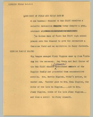 Primary view of object titled '[News Script: Higgins Field]'.
