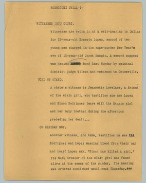 Primary view of object titled '[News Script: Rodriguez trial]'.