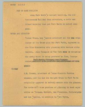 Primary view of object titled '[News Script: Gruen]'.