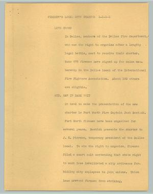 Primary view of object titled '[News Script: Fireman's local gets charter]'.