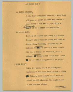 Primary view of object titled '[News Script: Boy found dead]'.