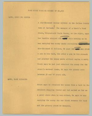 Primary view of object titled '[News Script: Food store manager robbed of $6,023]'.