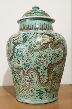 Large Covered Jar (Potiche) Decorated with a Phoenix and a Dragon