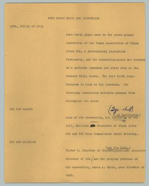 Primary view of object titled '[News Script: Fort Worth hosts SDX convention]'.